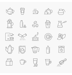 Coffee line icon set vector