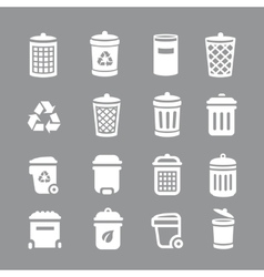 Trash can and recycle bin icons garbage rubbish vector
