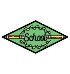 Color vintage back to school emblem vector