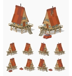 A-frame wooden house vector