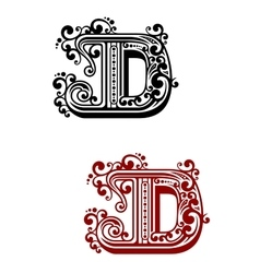 Ancient capital letter d with floral elements vector