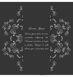 Black and white card design with ornate floral vector