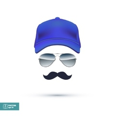 Cap Glasses and Mustache vector image vector image