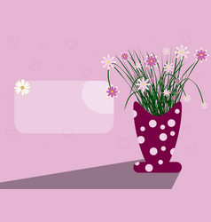 card scene with vase and flowers vector image