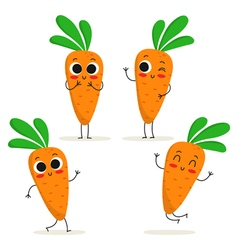Carrot Cute vegetable character set isolated on vector image