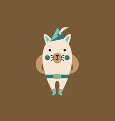 Cartoon cat character with cap vector