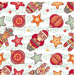 Christmas toys seamless pattern vector