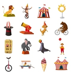 Circus symbols icons set cartoon style vector