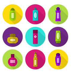 Cosmetic bottles flat icon set vector