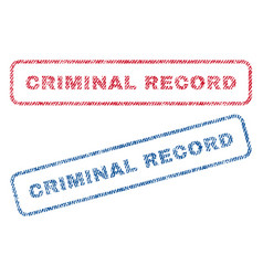 Criminal record textile stamps vector