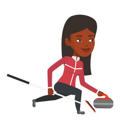 Curling player playing on the rink vector