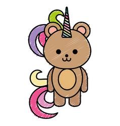 cute fantasy bear with unicorn horn vector image