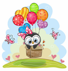 Cute penguin in the box is flying on balloons vector
