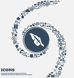 Feather icon in the center Around the many vector image vector image