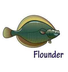 Flounder fish cartoon character vector image vector image