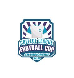 Football or soccer sport game shield label design vector