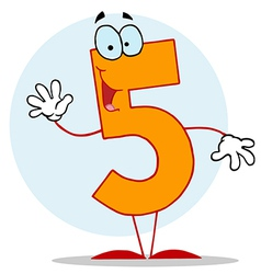 Funny cartoon friendly number 5 five guy vector