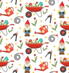 Gardening seamless pattern with gnome flowers and vector
