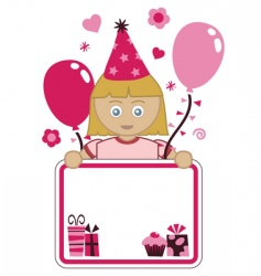 girl party card vector image vector image