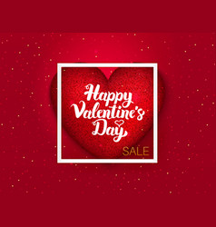 Happy valentines day red postcard vector
