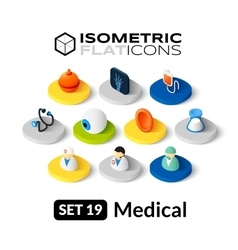 Isometric flat icons set 19 vector