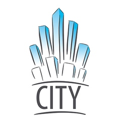 Logo city in the form of crystals vector
