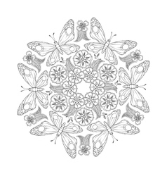 Monochrome Mendie Mandala with butterflies and vector image