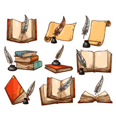 Old book paper scroll and feather pen sketch set vector