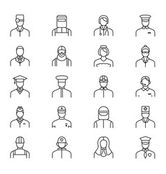 people avatars characters staff black thin line vector image vector image
