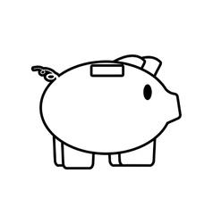 piggy save money bank line vector image vector image