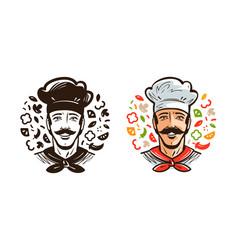 portrait of happy chef cook cuisine cooking vector image vector image
