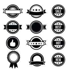 Retro round badges vintage labels set - vector image