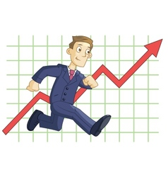 Running businessman on the business graph vector image vector image