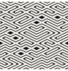 Seamless black and white rounded line maze vector