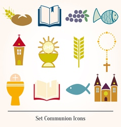 Set of a communion depicting traditio vector image