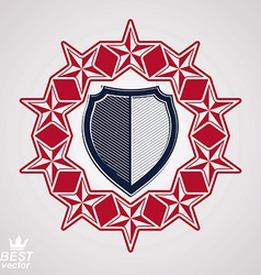 Shield with 3d stars vector