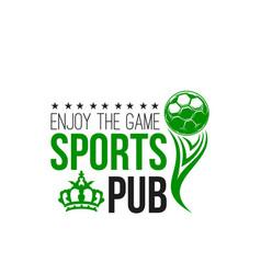 Soccer sports pub or football beer bar icon vector