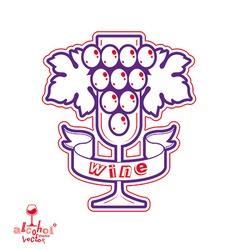 Sparkling wine stylized empty wineglass wit vector