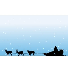 Train santa with snow of silhouettes landscape vector