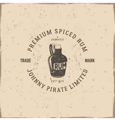Vintage handcrafted pirate rum emblem alcohol vector