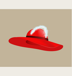 Womans summer red straw hat isolated style vector