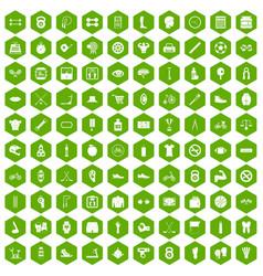 100 kettlebell icons hexagon green vector image vector image