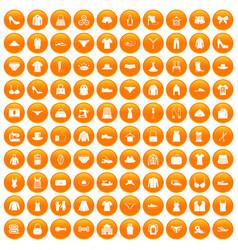 100 sewing icons set orange vector