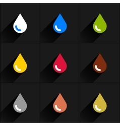 Drop icon set in simple flat style vector