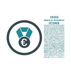 Euro champion medal rounded icon with 1000 bonus vector
