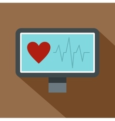 Heartbeat monitoring icon flat style vector image