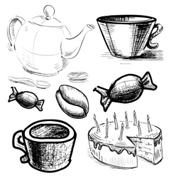 Tea and coffee stuff icons set vector
