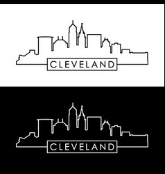 Cleveland skyline black linear style vector