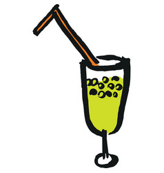 Wineglass with straw vector