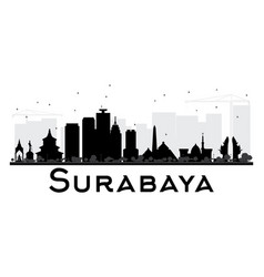 Surabaya city skyline black and white silhouette vector